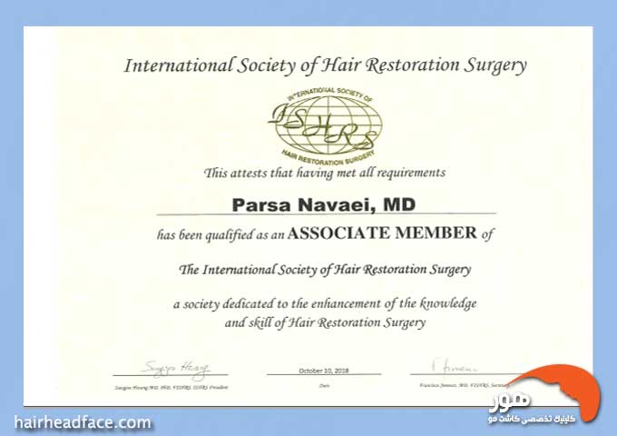 دکتر پارسا نوایی عضو انجمن بینالمللی کاشت مو